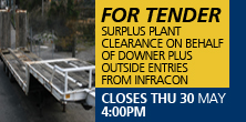 Surplus plant clearance on behalf of Downer plus outside entries from Infracon
